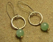 Green Aventurine Hammered Sterling Silver Circle Dangle Earrings