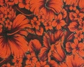 Vintage Fabric 60s Hawaiian Floral Hibiscus Print Cotton Red Gold 2.5 yards
