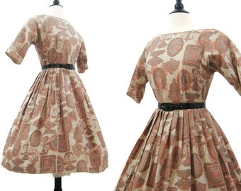 50s 60s Dress Vintage Novelty Print Cotton Day Dress Full Skirt Rockabilly M