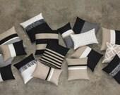 Luxury Pillow Cover Set - Elegant Neutrals - Black, Cream, Natural & Gold - Modern Home Decor by JillianReneDecor (Custom Colors Available)