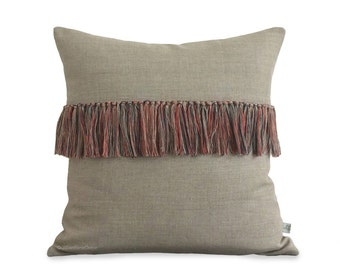 Coral Fringe Pillow Cover in Natural Linen - Hand Knotted Accent Pillow by JillianReneDecor - Modern Home Decor - Boho Chic