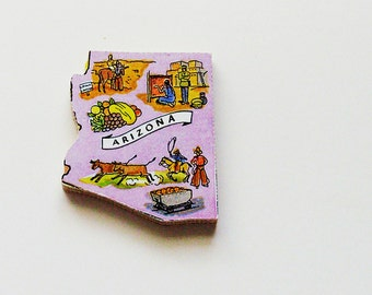 1960s Arizona Brooch - Pin / Unique Wearable History Gift Idea / Upcycled Vintage Hand Cut Wood Jewelry / Timeless Gift Under 25