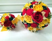 Red, Yellow and Navy Wedding Bouquet made with sola flowers - choose  colors - Custom - Alternative - bridal / bridesmaids bouquet