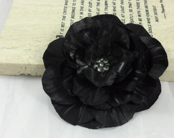Black satin flower brooch with crystals,  BlackGothic Halloween Wedding Bridesmaid Hair clip or Brooch, Made To Order- LINDA