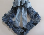 Diamond or Square Upcycled Denim Wreath