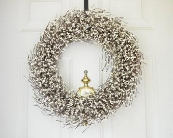 Spring Cream Berry Wreath Easter wreath Front Door wreath Grapevine wreath Year round wreath Holiday Wreath  Christmas Wreath Winter wreath