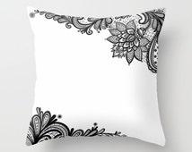 White Black Throw Pillow, Black Lace Print Pillow, Decorative Pillow Cover, Boudoir Home Decor, Patio, Outdoor, Elegant Pillow,Unique, White