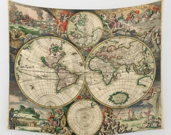 Old World Map Wall Tapestry, Vintage Map Large Size Wall Art, Modern Decor, Office Decor,Beach Hut Decor,Brown Tapestry,Vintage Map Tapestry