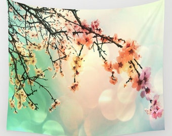 Cherry Tree Wall Tapestry, Wall Art, Sakura Tapestry, Modern, Home, Nature, Flower, Contemporary Tapestry, Colorful Wall Art, Cherry Blossom