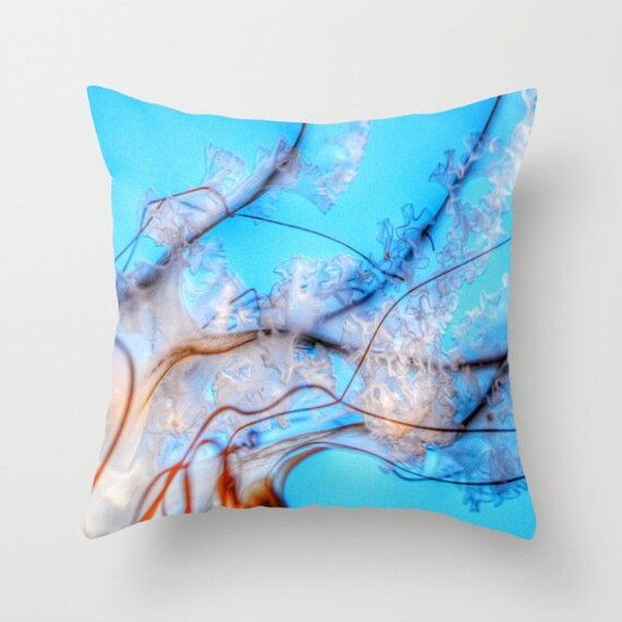 Aqua Blue Throw Pillow, Jellyfish Pillow, Ocean Blue, For, Office, Pacific Sea Nettle, Nature Cushion, Nautical Pillow, Surf, Underwater