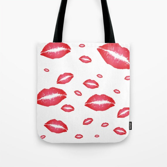 Red Lips Tote Bag, 13x13, 16x16, 18x18, Kisses Tote, Beach Tote, Modern Tote, Red Lipstick Tote, Contemporary Tote, Red White Tote,Mouth Bag