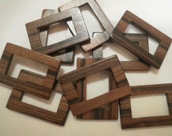 Dark Brown Large Wooden Rectangular Beads