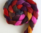Merino Wool Roving Superfine - Hand Dyed Spinning or Felting Fiber, Smoldering Bits