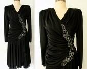 50% off SALE - Draped Black Cocktail Dress / 80s Floral Applique Dress / Little Black Dress