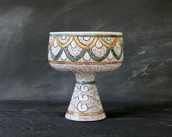 Vintage Mid Century Modern Gold and Aqua Abstract Vase, Ceramic Midmod FIfties Art Deco Pedestal Bowl
