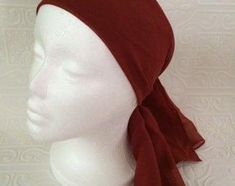 Vintage sheer pin up brick red hair scarf