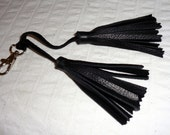 Handmade dual tassel  black genuine thick soft leather silver clasp for Coach bag