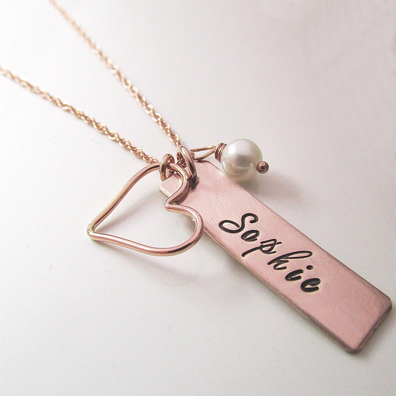 mother 39 s necklace rose gold bar necklace name necklace. Black Bedroom Furniture Sets. Home Design Ideas