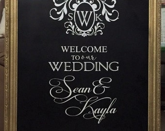 Wedding Welcome to our Wedding His and Hers Names Custom Wall Decor Words Vinyl Lettering Decal