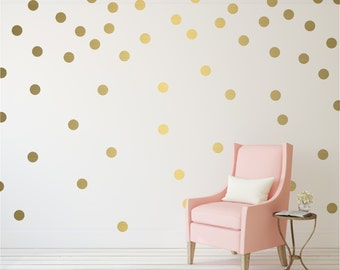 Gold Polka Dot Vinyl Wall Stickers Nursery Decal Pattern
