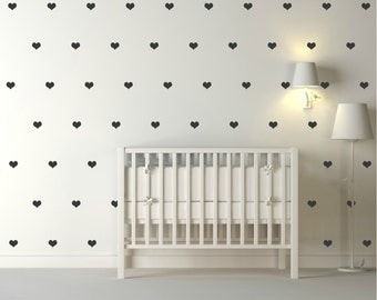 Gold Hearts Vinyl Wall Stickers Nursery Decal Pattern