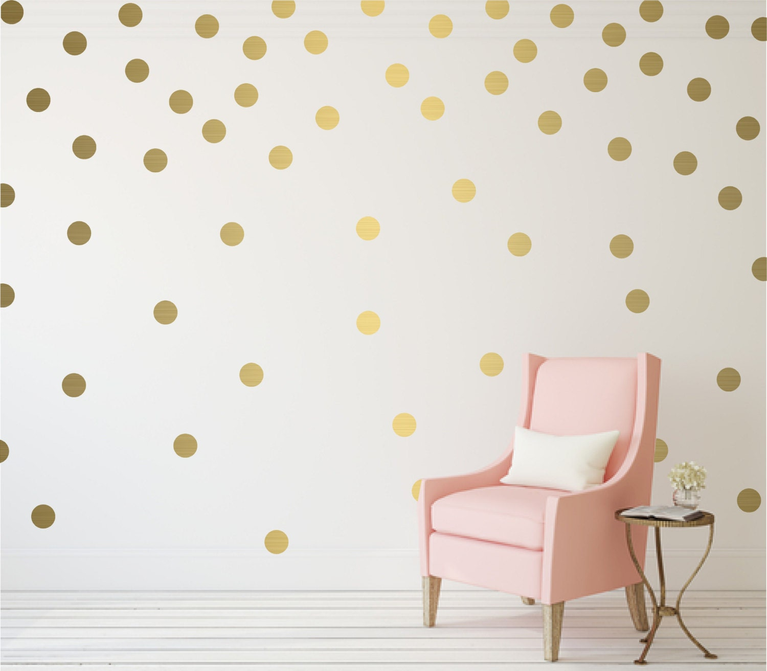 gold polka dot vinyl wall stickers nursery decal pattern. Black Bedroom Furniture Sets. Home Design Ideas