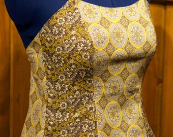 gray/yellow backless summer festival top