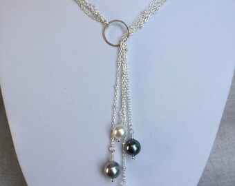 Pearl Lariat Necklace, Elegant Necklace
