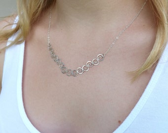 Silver Necklace Small Swirl Handmade Link Chain Pendant Eco Friendly Womens Jewelry Gift Idea for Her