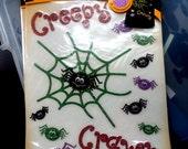 Halloween Iron On Glitter Transfer Brand New, Spiders,Creepy, Crawly, Web