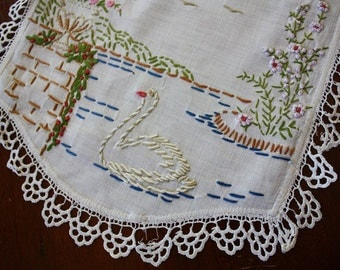 Vintage Swan Table Runner 38 inches