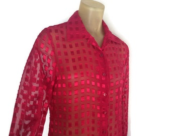 Red Blouse, Sheer 90s Geometric Blouse, Textured Squares Top, See Through, Long Sleeve Button Down Shirt, Tunic Blouse, Side Slits Petite M