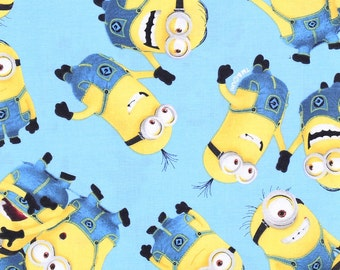 Minions Blue Fabric By The Yard