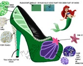 LITTLE MERMAID | ARIEL | Disney Princess | Glitter, Crystal Rhinestones, and Pearls | Design for Heels | Great for Cosplay
