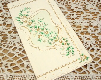 Vintage Note Card, Greeting Card, Hand Written Letter, Flowers, Floral, Trifold  (747-15)