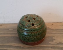 Vintage Pottery Flower Frog Handthrown by Carmelite Nuns, Navajo Wheel Clay Pottery, Handcrafted Pottery, Flower Arranging