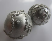 Vintage Buttons - 2 matching round ball, metalic and frosted silver design, beautiful buttons, old and sweet(aug 121)