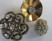 Vintage Buttons - 3 novelty bronze metal rhinestone buttons, flower designs(aug 389)