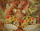 Pearly White Baskets-Antique Vintage Celluloid Flower Basket Assemblage Earrings