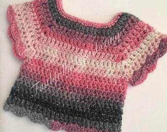 Newborn sweater... Short sleeve sweater.. Shirt.. Pink
