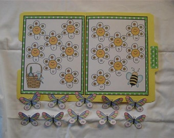 Blooming Numbers Math File Folder Game Center Teacher Resource Sequencing Numbers