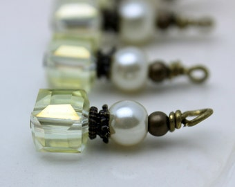 Antiqued Clear AB Faceted Square Cube and White Pearl Bead Earring Dangle Charm Set