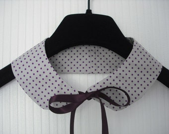 Polka Dot Print Detachable Peter Pan Collar with Satin Ribbon in Purple and Grey - Kitsch & Rockabilly