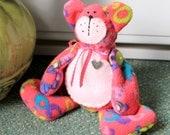 Pink lime fleece felt beanie teddie bear plush toy,room decoration,pink beanie teddy bear,pink teddy bear,pink teddy,eco friendly,lime teddy
