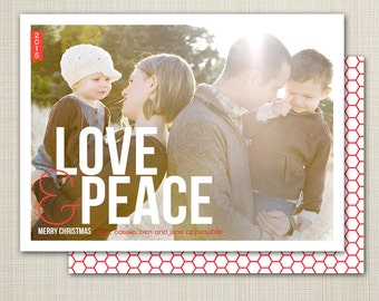 Christmas card, photo Christmas card, photo holiday card, modern Christmas card, printable Christmas holiday card - love and peace