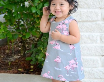 Infant - Toddler A-line dress.  Gray with pink Flamingos