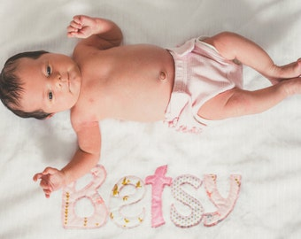 Monogrammed Baby Blanket in GLIMMER, Metallic Gold and Pink Fabric Letters with White Chenille and Soft Minky Personalized for Baby Girl