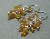 Citrine and sterling silver beaded cluster drop earrings, honey colored citrine dangle earrings, sterling silver and citrine earrings