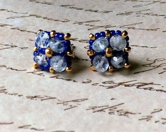 Hand Beaded stud earrings with  3mm Aqua Marine stones, cobalt blue and 24kt gold plated seed beads, sterling silver post