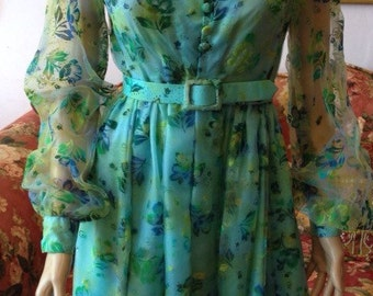 Vintage 1960s Sheer Chiffon Turquoise Flocked Dress...Size S/M